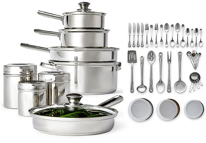 JCPenney: Cooks 52-Piece Stainless Steel Cookware Set Only ...