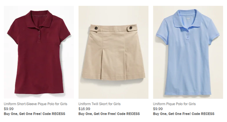 Old Navy: Buy One Get One Free School Uniforms (Plus $10 off of $10