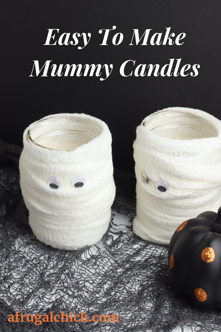 Easy To Make Mummy Candles- Most supplies you will find around the house or you can grab using coupons or shopping discounts.