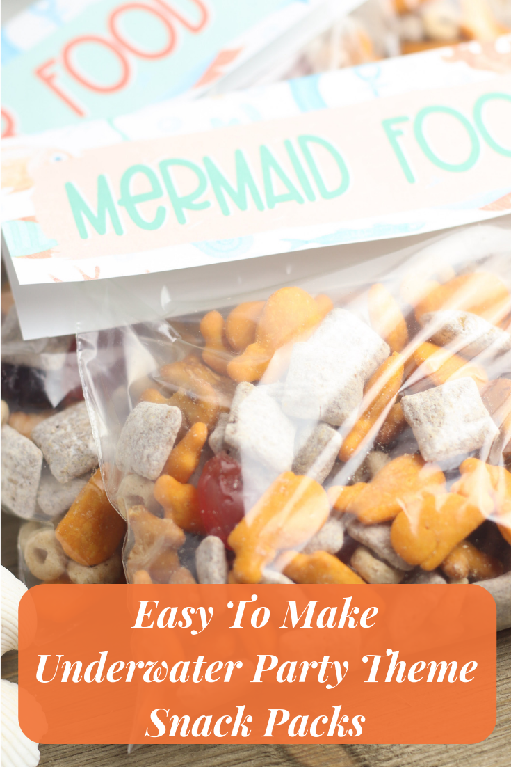 Easy To Make Underwater Party Theme Snack Packs- This very simple craft/recipe is perfect for your underwater themed party on a budget!
