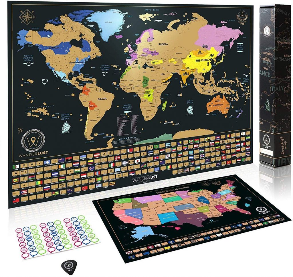 Amazon Lowest Price: XL Scratch Off Map of the World + USA ...