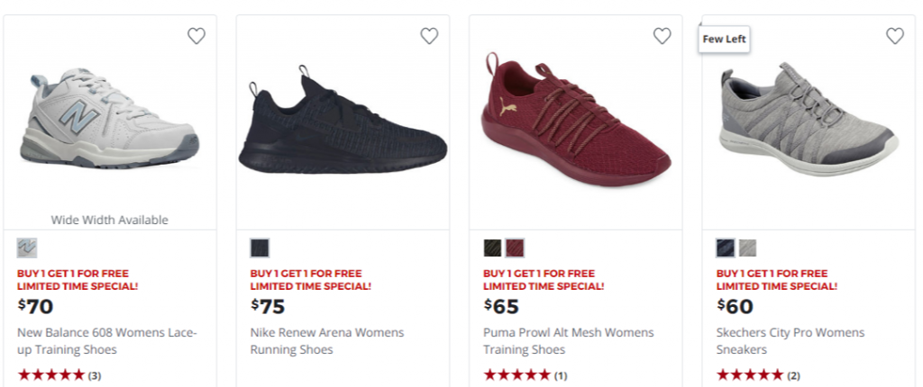 JCPenney: Buy 1 Get 1 Free Athletic Shoes